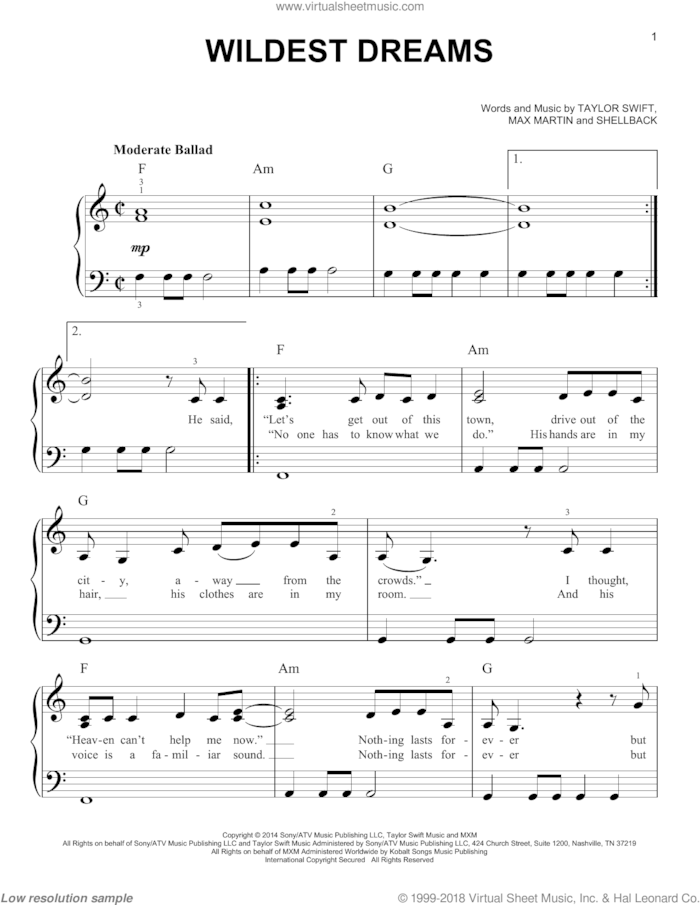 Taylor Swift Wildest Dreams Chords : taylor, swift, wildest, dreams, chords, Swift, Wildest, Dreams,, (easy), Sheet, Music, Piano, [PDF]