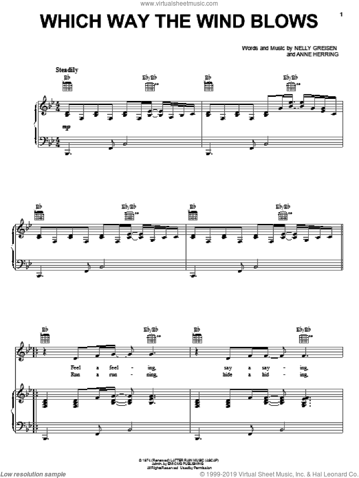 Acts - Which Way The Wind Blows sheet music for voice. piano or guitar