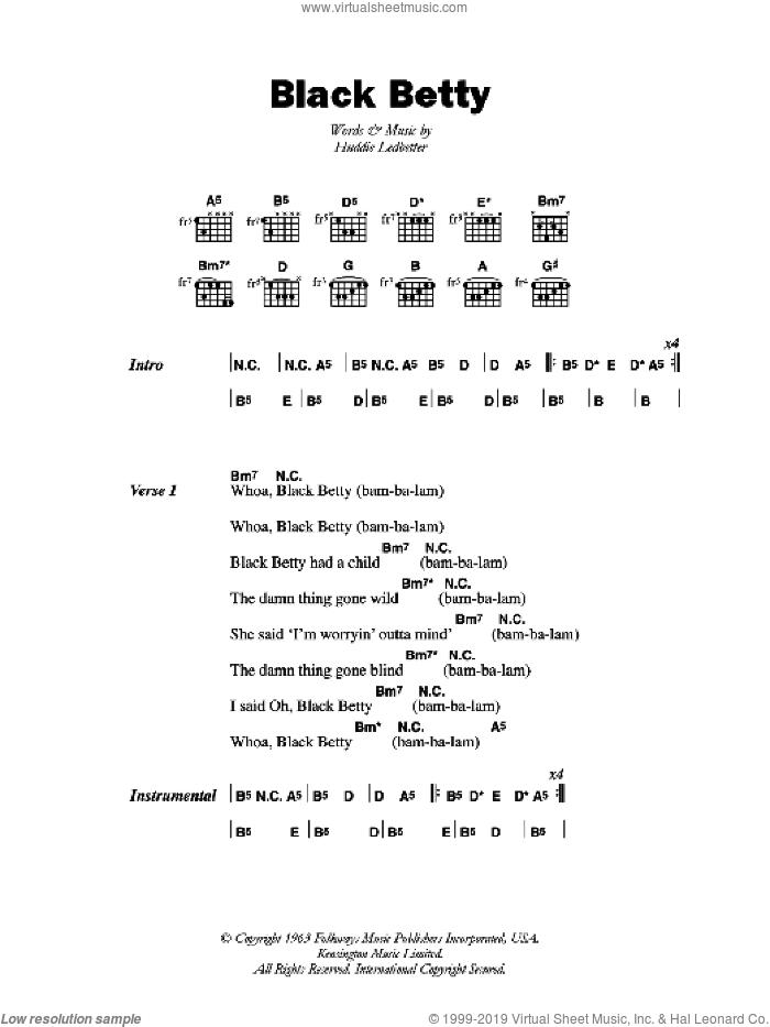 Lyrics Black Betty : lyrics, black, betty, Black, Betty, Sheet, Music, Guitar, (chords), [PDF]