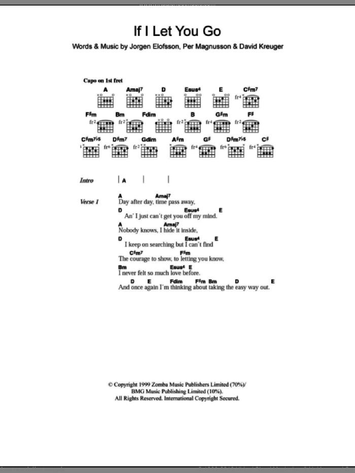 Chord If I Let You Go : chord, Download, Westlife