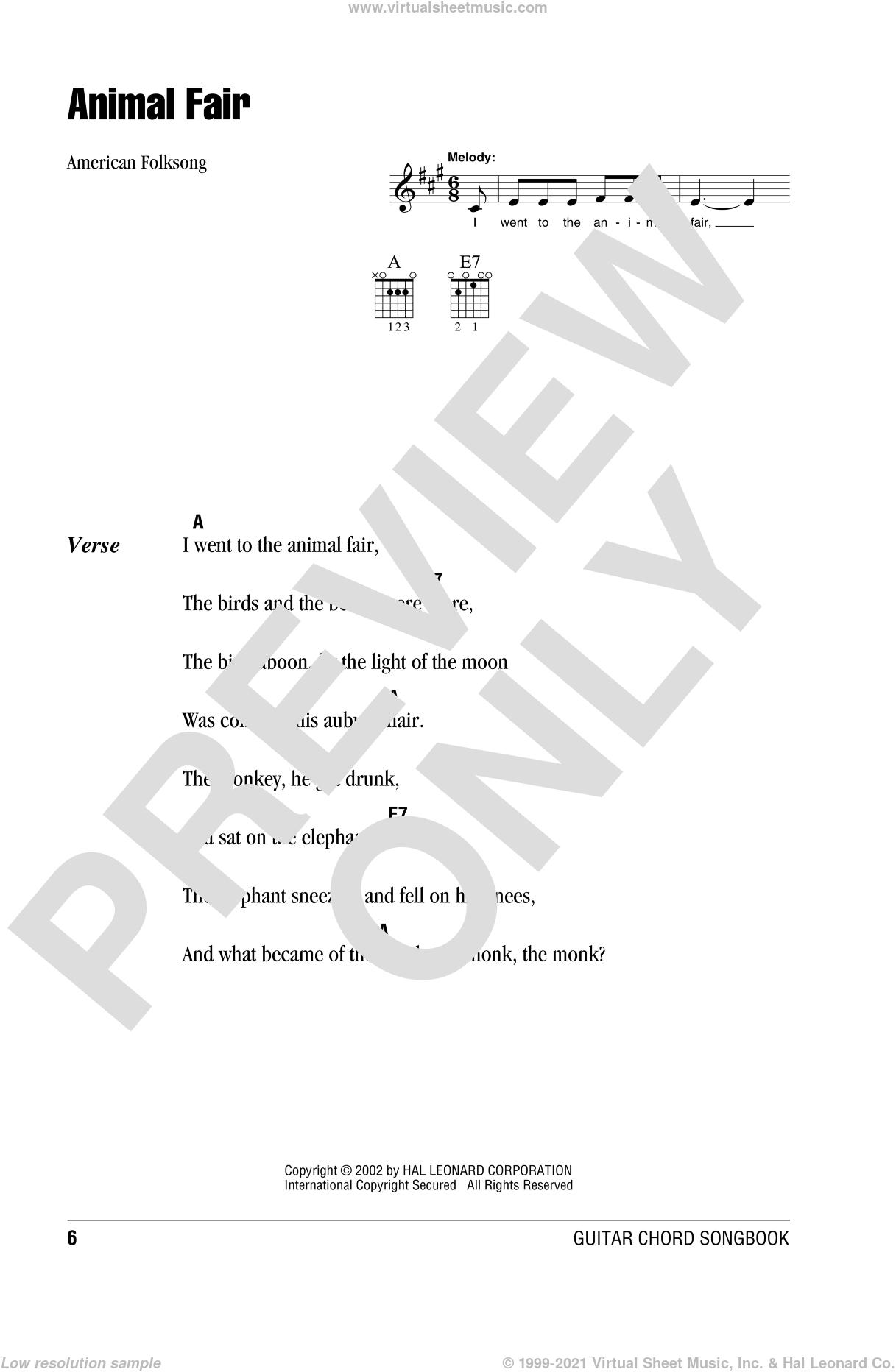 Animal Fair sheet music for guitar (chords) [PDF]
