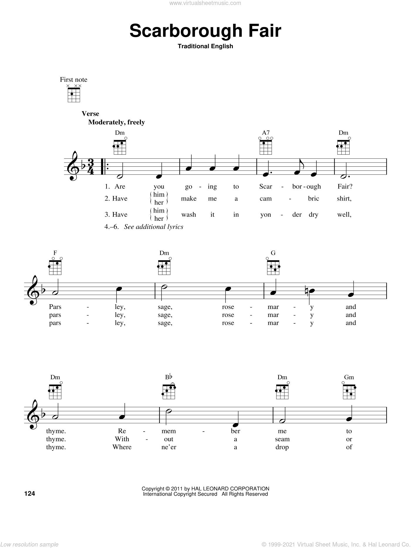 Ballad - Scarborough Fair sheet music for ukulele [PDF]