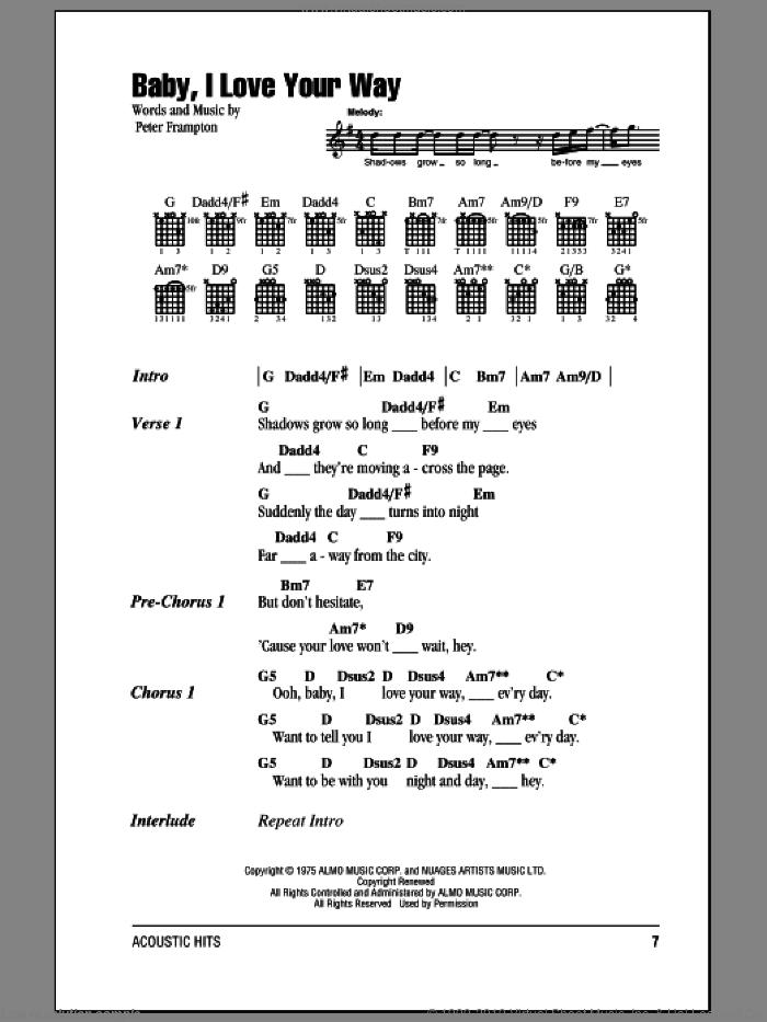 Peter Frampton Baby I Love Your Way Mp3 : peter, frampton, Frampton, Baby,, Sheet, Music, Guitar, (chords)