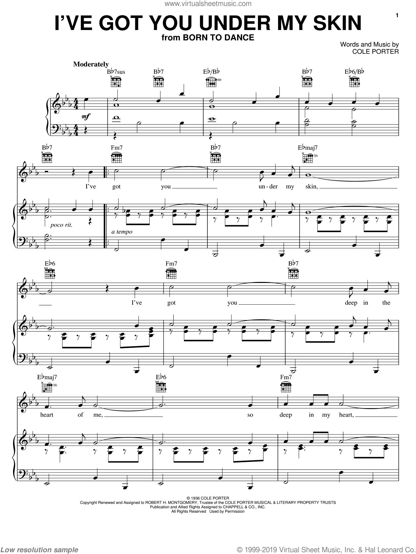 I've Got You Under My Skin : under, Sinatra, Under, Sheet, Music, Voice,, Piano, Guitar