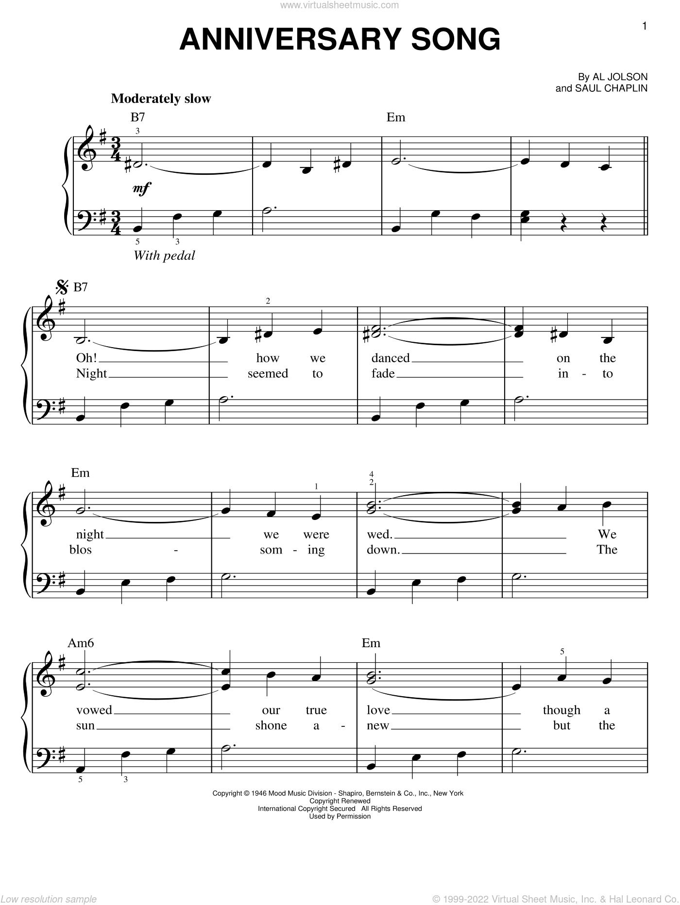 chaplin anniversary song sheet