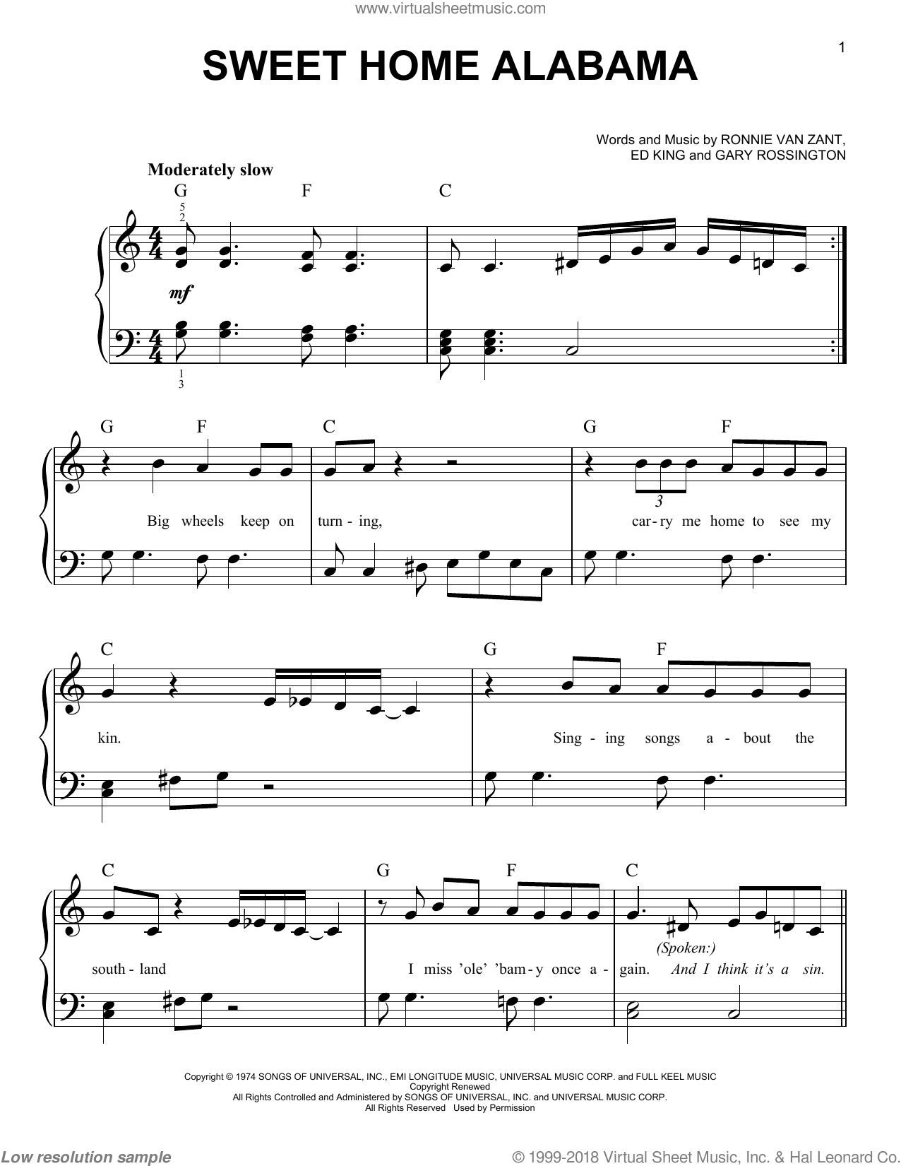 Sep 01, 2012· browse the full list of uu song tutorials download the tab for this picking: Skynyrd Sweet Home Alabama Beginner Sheet Music For Piano Solo
