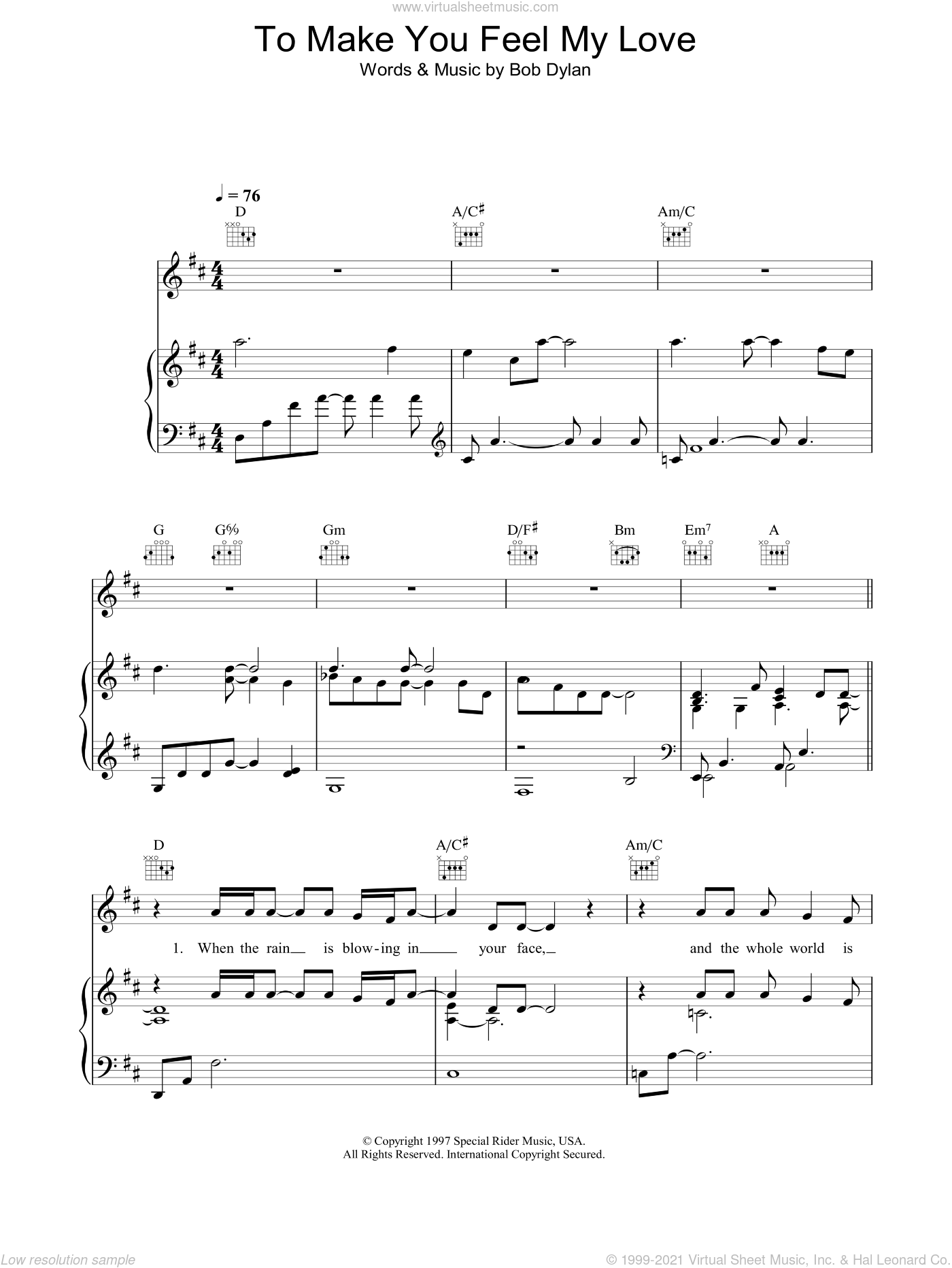 Brooks - To Make You Feel My Love sheet music for voice. piano or guitar
