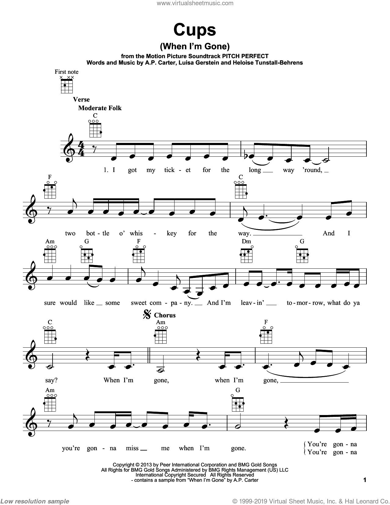 Cups Ukulele : ukulele, Kendrick, (When, Gone), Sheet, Music, Ukulele, [PDF]
