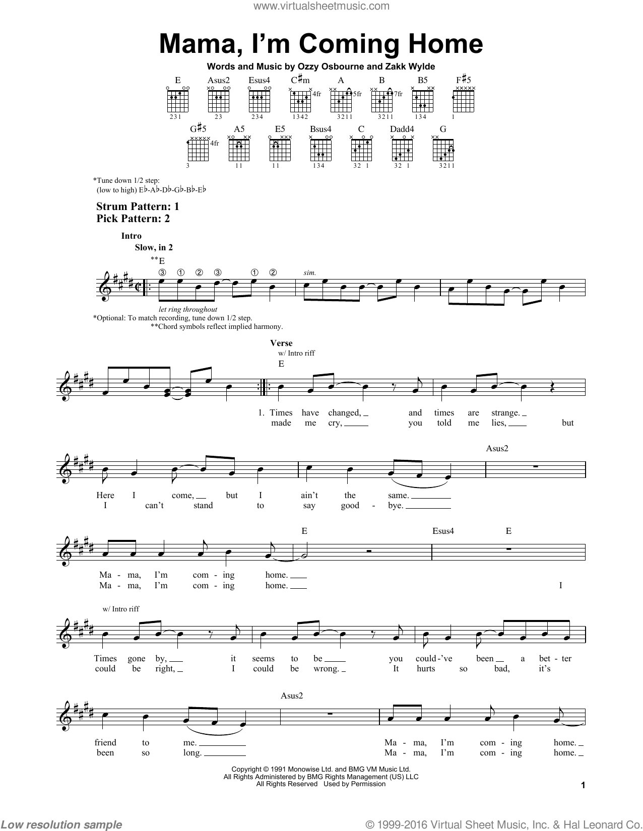 Osbourne - Mama. I'm Coming Home sheet music for guitar solo (chords)