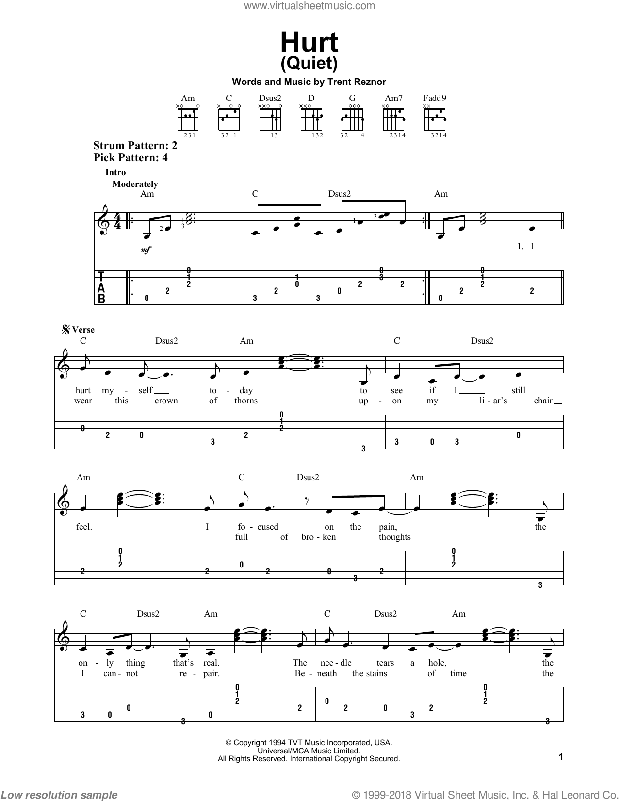 Nin Hurt Tab : (Quiet), Sheet, Music, Guitar, (easy, Tablature)