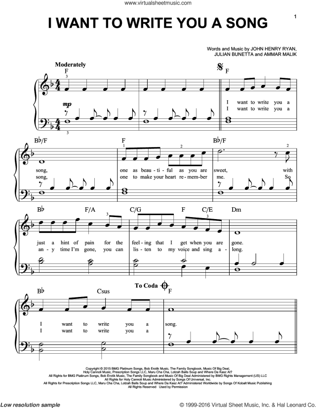 Direction - I Want To Write You A Song sheet music for piano solo