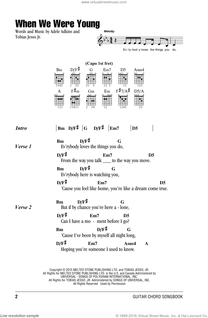 When We Were Young Adele Chords : young, adele, chords, Adele, Young, Sheet, Music, Guitar, (chords), [PDF]