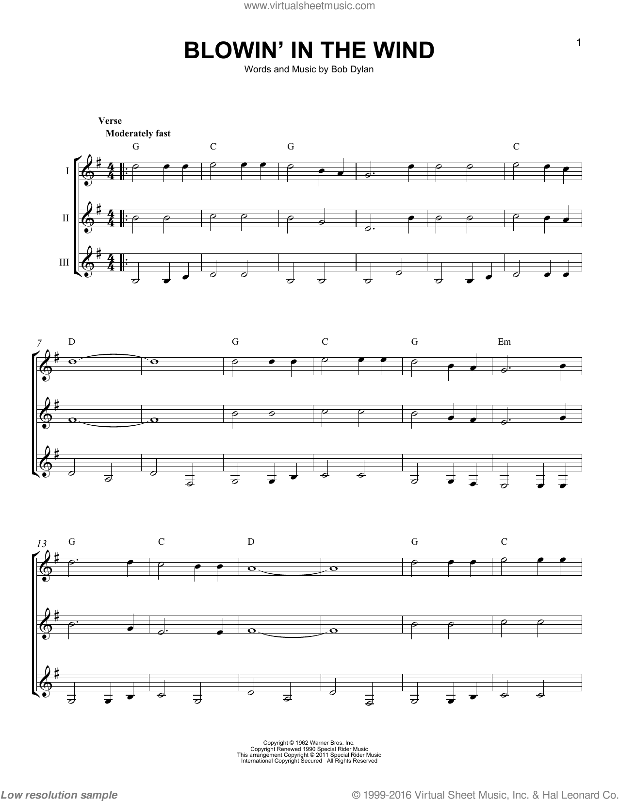 Dylan - Blowin' In The Wind sheet music for guitar ensemble [PDF]