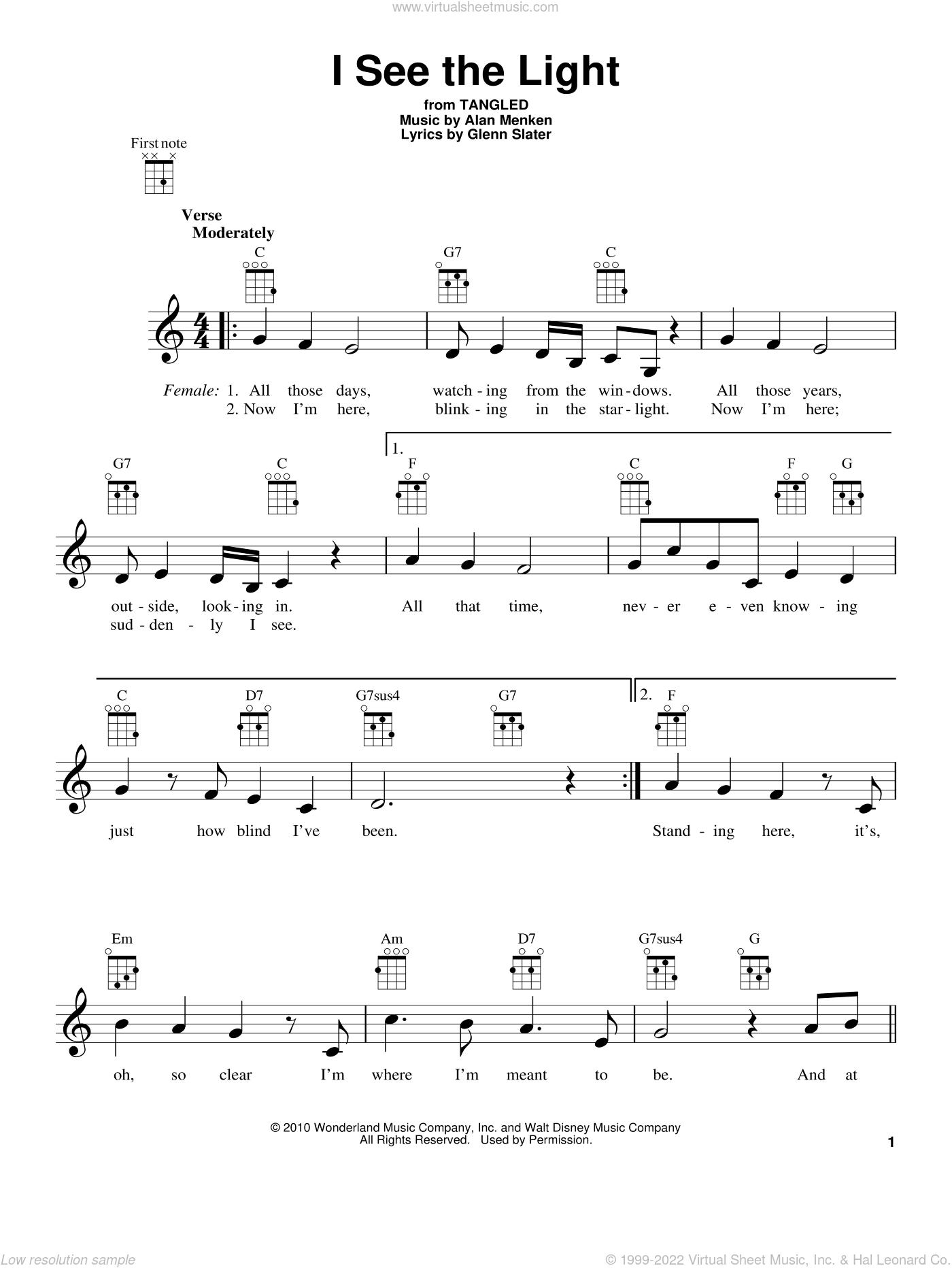 At Last I See The Light Ukulele : light, ukulele, Menken, Light, (from, Disney's, Tangled), Sheet, Music, Ukulele