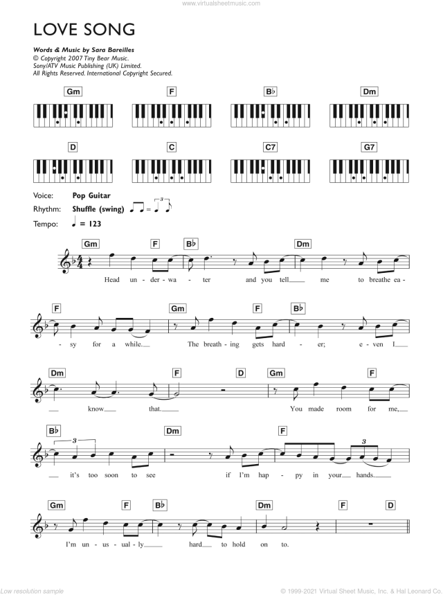 Bareilles - Love Song sheet music (intermediate) for piano ...