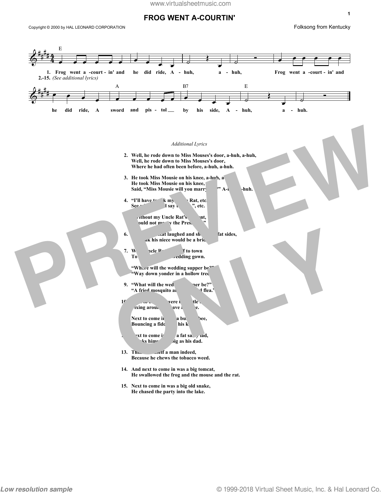 Frog Went A-Courtin' sheet music (fake book) [PDF-interactive]