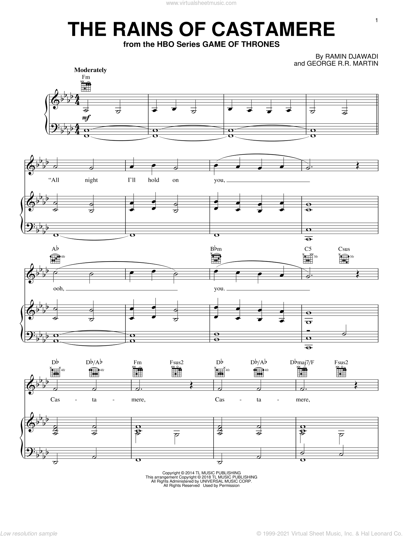 Ros - The Rains Of Castamere (from Game of Thrones) sheet music for voice. piano or guitar