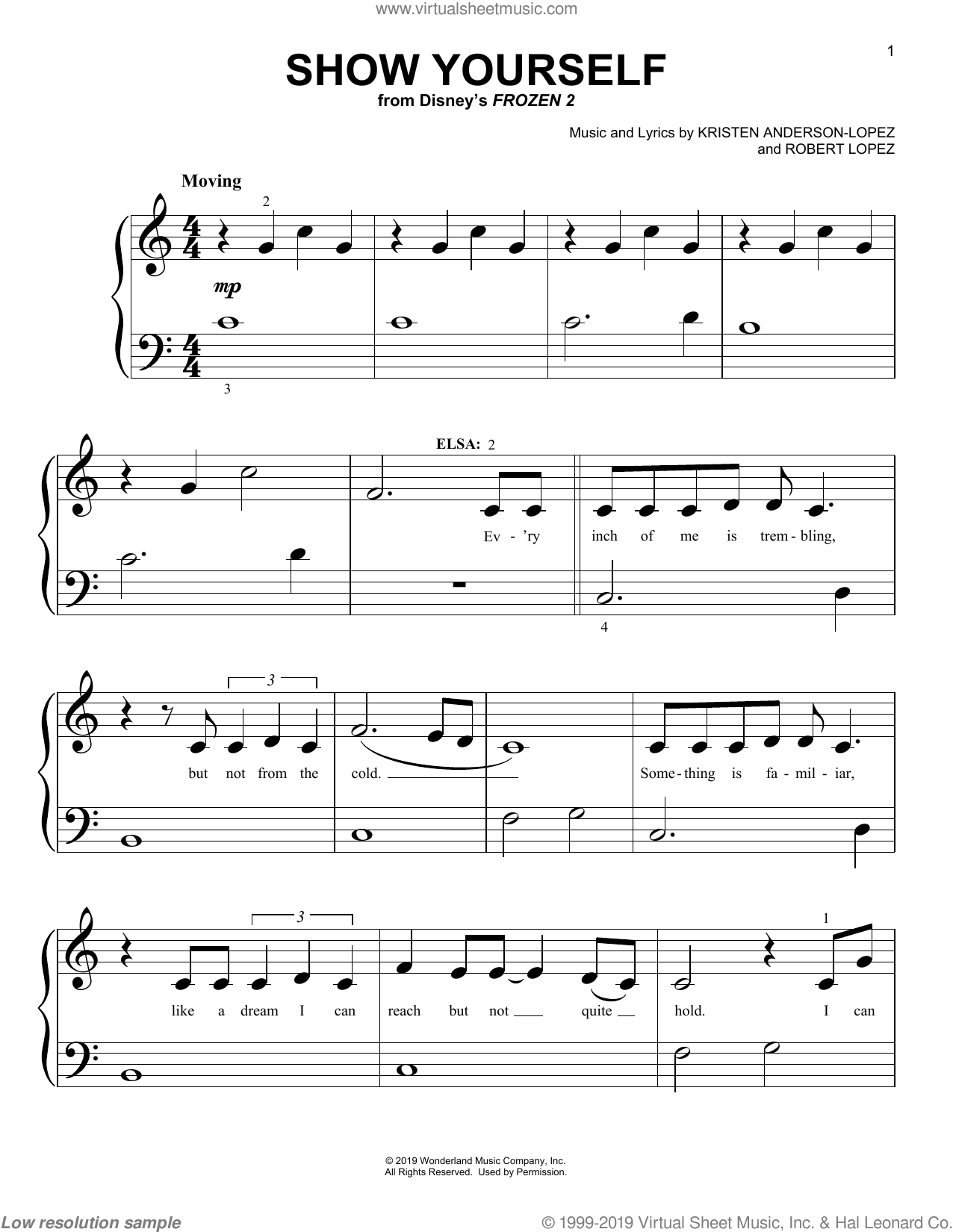 Wood - Show Yourself (from Disney's Frozen 2) sheet music for piano solo (big note book)