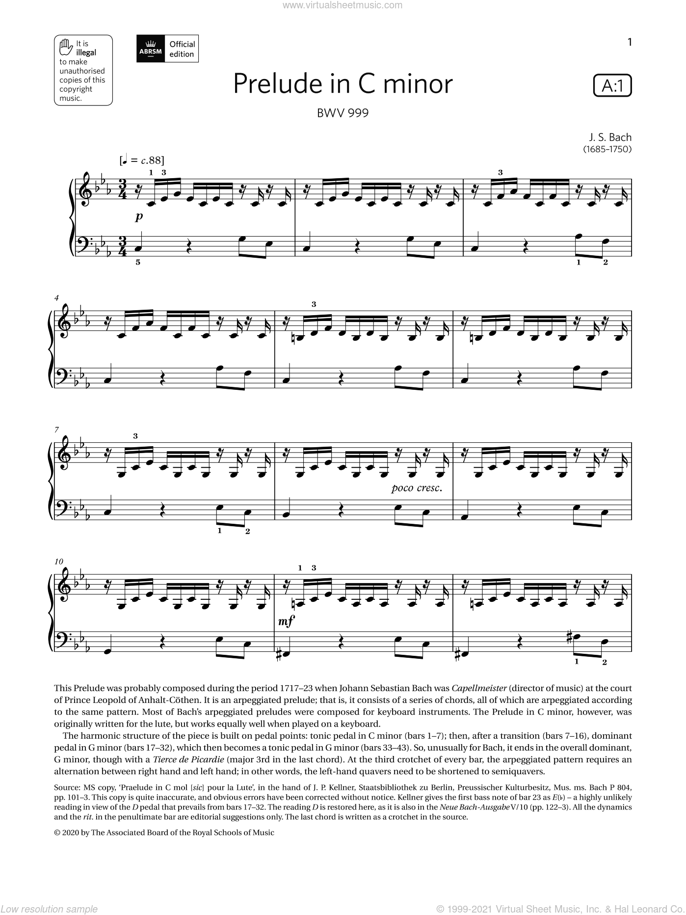Bach - Prelude in C minor (Grade 4. list A1. from the ABRSM Piano Syllabus 2021 and 2022) sheet music for piano solo