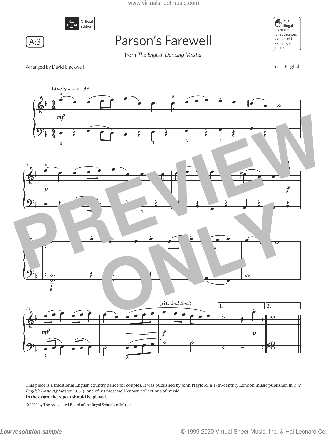 English - Parson's Farewell (Grade 1. list A3. from the ABRSM Piano Syllabus 2021 and 2022) sheet music for piano solo