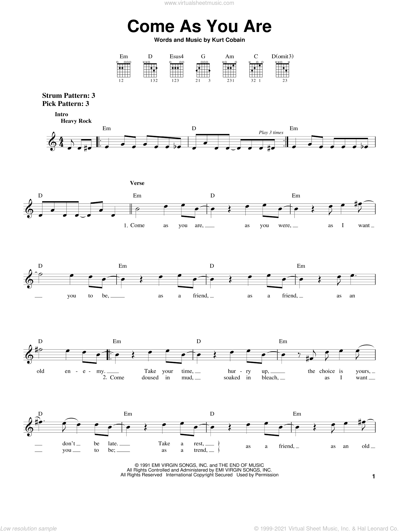 Come As You Are Notes : notes, Nirvana, Sheet, Music, (easy), Guitar, (chords)