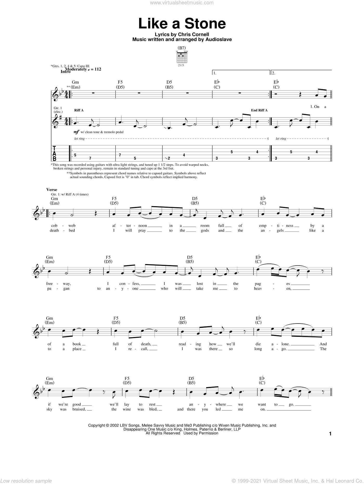 Audioslave Like A Stone Chord : audioslave, stone, chord, Audioslave, Stone, Sheet, Music, Guitar, (tablature)