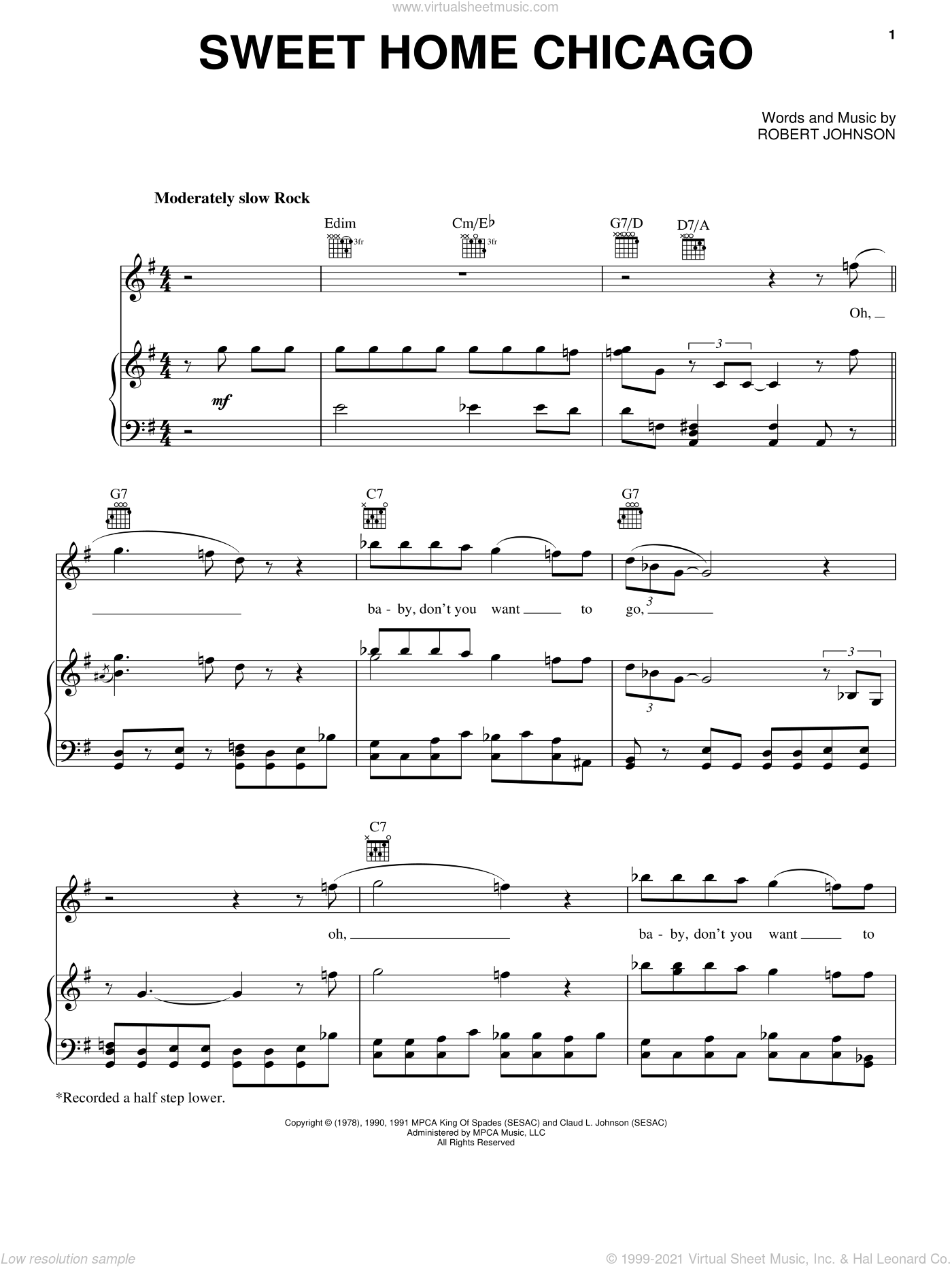 It would be useful to have covered 'heartbreak hotel' before this lesson! Johnson Sweet Home Chicago Sheet Music For Voice Piano Or Guitar