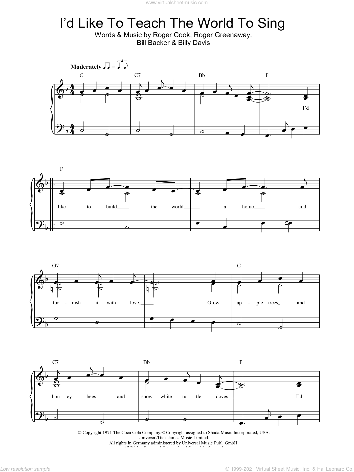 Seekers - I'd Like To Teach The World To Sing sheet music ...