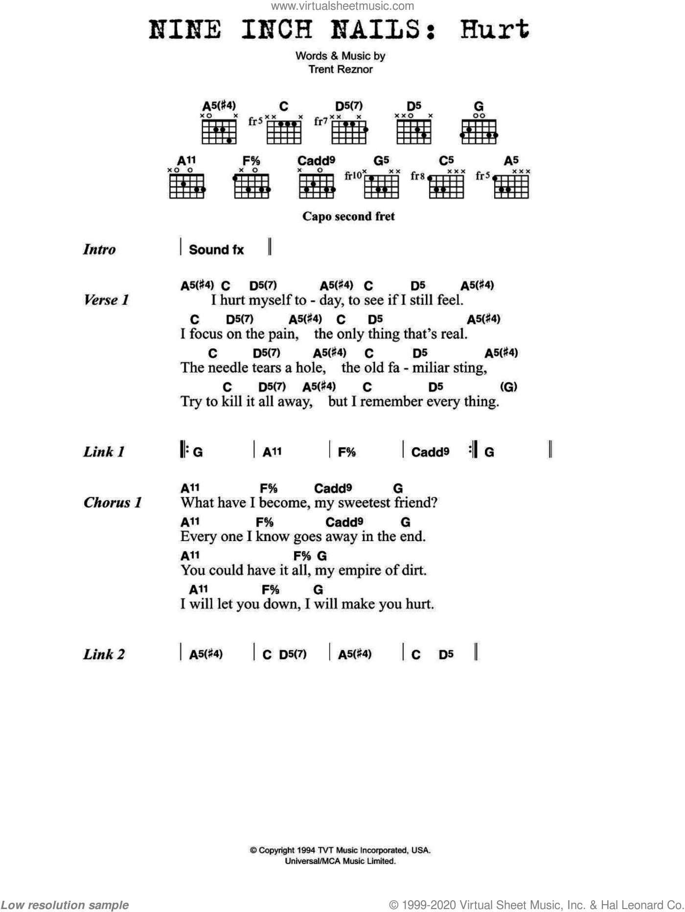 Hurt Piano Chords : piano, chords, Nails, Sheet, Music, Guitar, (chords), [PDF]