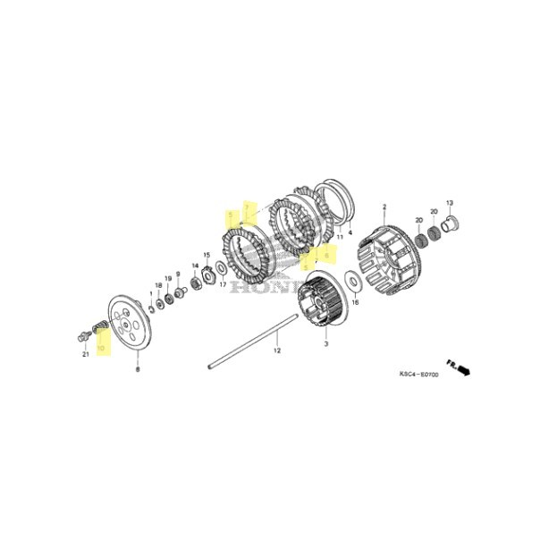 OEM Honda Clutch Kit for 2004 to 2009, 2012 CRF250X