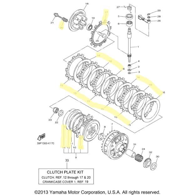 Yamaha Clutch Kit for 2011 to 2012 FZ8 : International