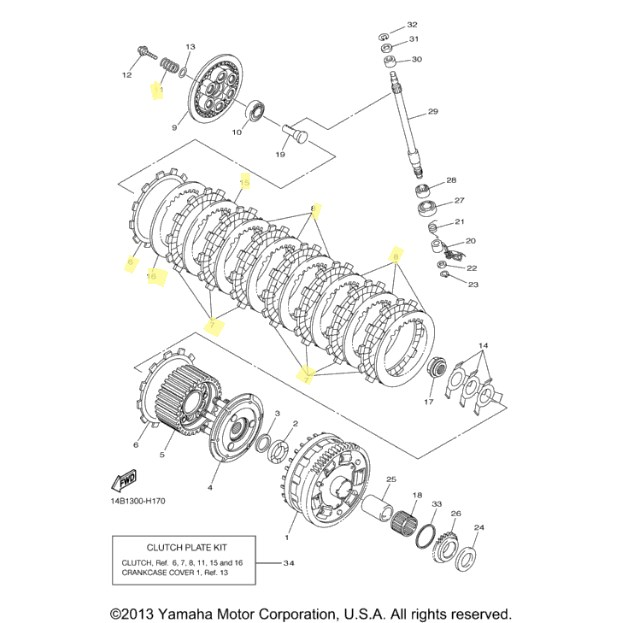 OEM Yamaha Clutch Kit for 2009 to 2011 YZF-R1 : Motorcycle