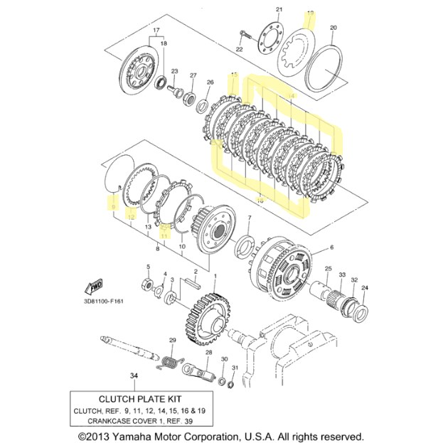 New OEM Yamaha Clutch Kit for 2007 to 2012 V-Star 1300