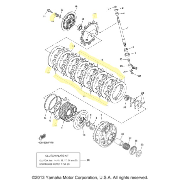 Yamaha Clutch Kit for 2007 to 2008 YZF-R1 : Motorcycle Goodies