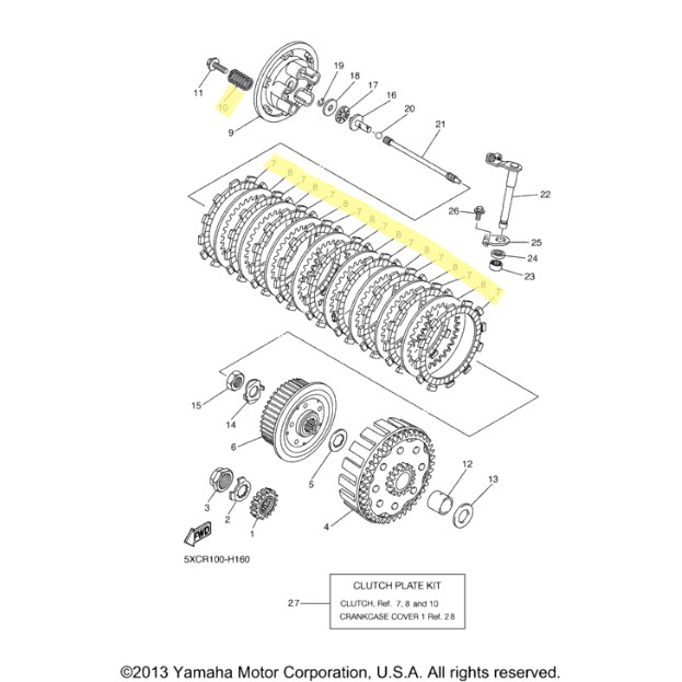 OEM Yamaha Clutch Kit for 2009 to 2012 YZ250F : Motorcycle