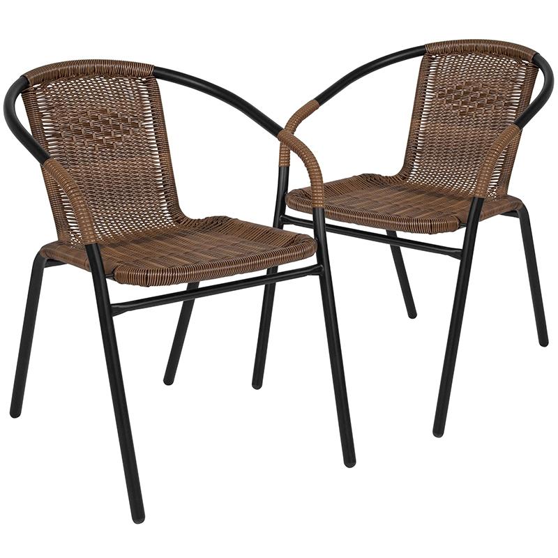 2 pack medium brown rattan indoor outdoor restaurant stack chair