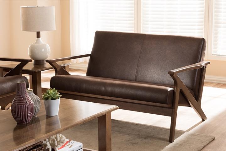 designer studios bianca mid century modern walnut wood dark brown distressed faux leather 3 seater sofa