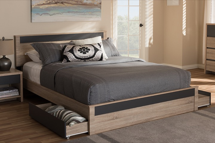designer studios jamie modern and contemporary two tone oak and grey wood queen 2 drawer queen size storage platform bed