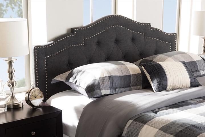 designer studios edith modern and contemporary dark grey fabric queen size headboard