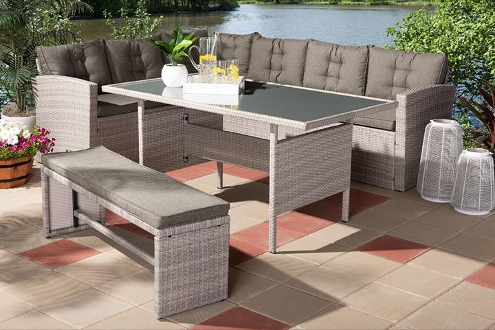 designer studios eneas modern and contemporary dark grey fabric upholstered and grey rattan 3 piece outdoor patio lounge corner sofa set
