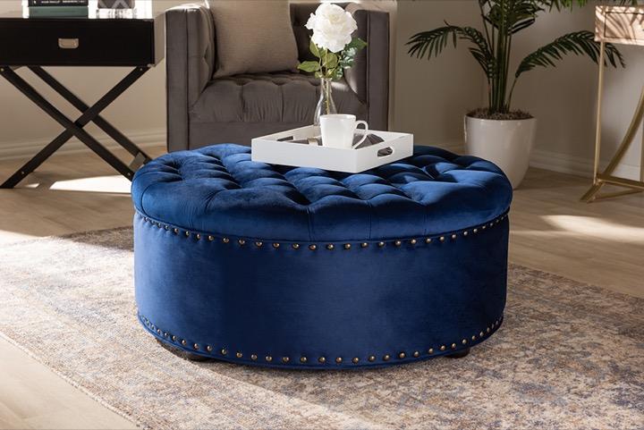 designer studios iglehart modern and contemporary royal blue velvet fabric upholstered tufted cocktail ottoman