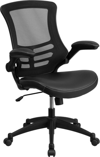 posture executive leather chair bistro dining chairs enhance your office black meshback with mid back mesh swivel task padded seat and flip up arms bl x 5m lea gg