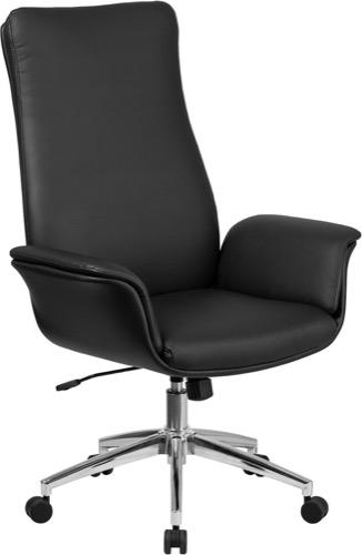 black leather office chair high back reclining exec executive swivel with flared arms bt 88 bk gg
