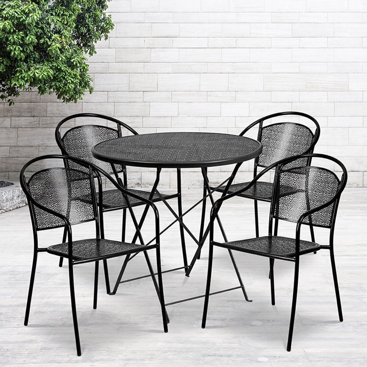 commercial grade 30 round black indoor outdoor steel folding patio table set with 4 round back chairs