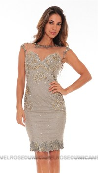 Mandalay Pewter Beaded Embroidery Cocktail Dress