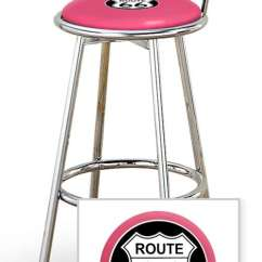 Tall Swivel Chair How To Make Bamboo The Furniture Cove New 24 Chrome Seat Bar Stool Featuring Route 66 Theme With Hot Pink