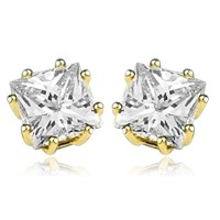 Diamond Essence studs of princess cut square stones set in ...