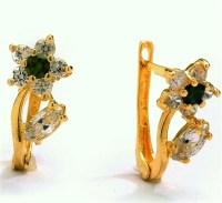 Diamond Essence Delicate Flower Leaf Design Earrings with ...