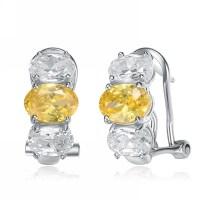 Diamond Essence Designer Earrings with Oval cut Canary ...