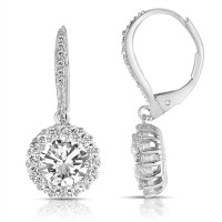Diamond Essence leverback earrings, 1.5 carat each, round ...